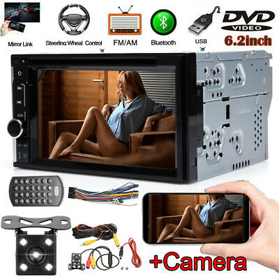 6.2 Double 2Din HD Car Stereo DVD Player Bluetooth Mirror For GPS Sat Nav MP3 TV • 69.90£