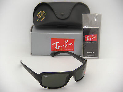 9b929738cce Ray-Ban RB 4075 601 58 61mm Polished Black Frame Green Polarized New  Authentic