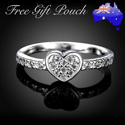 AU8.95 • Buy Stunning 925 Sterling Silver Crystal Love Heart Ring Women's Jewellery Gift New