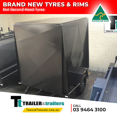 AU2340 • Buy 7x4 SINGLE AXLE 4FT HIGH FULLY ENCLOSED VAN/CARGO TRAILER + NEW TYRES