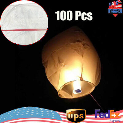 100x White Paper Chinese Lanterns Sky Fly Candle Lamp For Wish Party Wedding 36 32