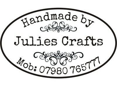 Bespoke Vintage Rubber Stamp (Handmade By 'Your Name') + FREE BLACK PAD • 10.75£