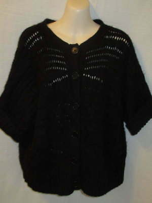 $22.95 • Buy Calvin Klein 100% Cashmere Black Chunky Knit Cardigan 0X May Fit XL 1X