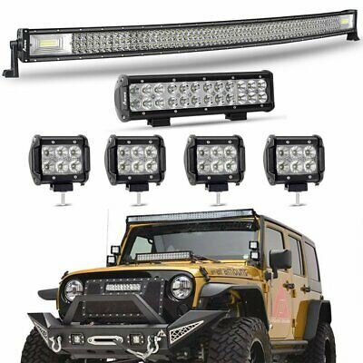 AU189.99 • Buy 50'' Curved CREE 3 Row LED Light Bar + 12  + 4  For Jeep Wrangler JK YJ TJ CJ LJ