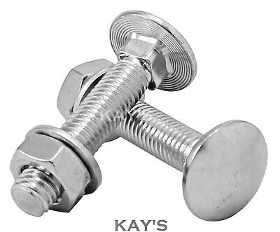 M5 Carriage Bolts With Nuts & Washers Cup Square Coach Screws A2 Stainless Steel • 2.86£