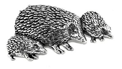 £5.75 • Buy Hedgehog Family Pin Badge Brooch English Silver Pewter In Gift Pouch