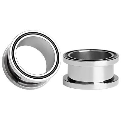 AU7.65 • Buy SILVER BLACK RING Ear Tunnels Piercing Stretchers Plugs Jewellery Metal TU182