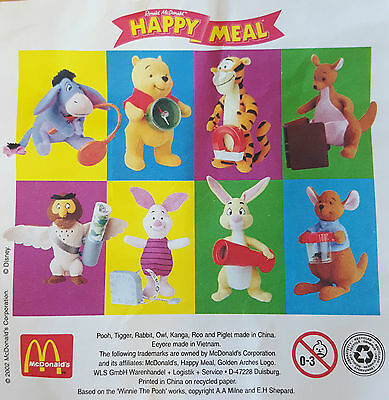 £4.75 • Buy McDonalds Happy Meal Toy 2002 Winnie The Pooh Plush Soft Toys - Various