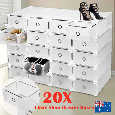 AU34.50 • Buy 20Pcs Clear Drawer Shoe Storage Boxes Stackable Container Organizer Cabinet Rack