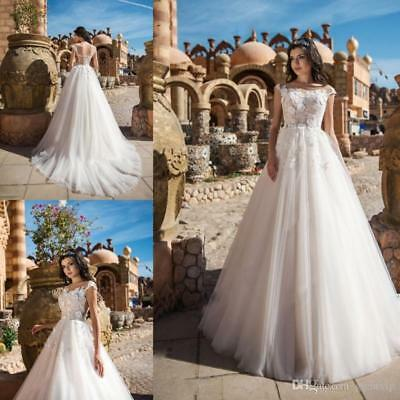 $ CDN160.91 • Buy Elegant A Line Wedding Dresses 3D Floral Applique Lace Tulle Garden Bridal Gown