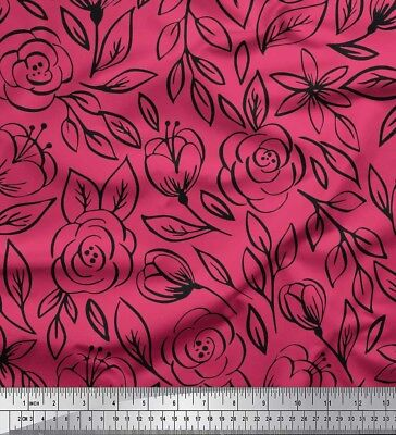 Soimoi Fabric Leaves & Rose Floral Fabric Prints By Meter-FL-216H • 7.60£