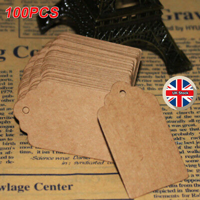 100x Vintage Kraft Paper Gift Tags Scallop Label Wedding Blank Luggage Tag • 2.89£