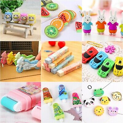 1-21pc Cute Kids Erasers Child Cartoon Roller Pencil Rubbers Party Bag Novelty  • 2.49£