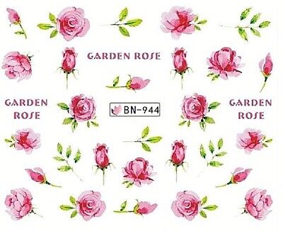 £1.75 • Buy Nail Art Decals Transfers Stickers Pink Garden Rose (BN944)
