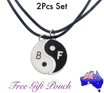 AU12.95 • Buy 2Pcs Ying Yang Best Friends Pendant Silver/ Leather Chain Necklace Set BFF Gift