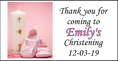48 Personalised Christening Pink Party Stickers Labels Party Bags Sweet Cones • 1.99£