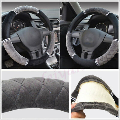 Comfortable 38cm Diameter Short Plush Car Interior Steering Wheel Cover Non-slip • 20.59£