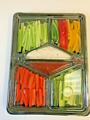 5 X Party Buffet Platters With Lids For Dips & Crudites - 390mm X 290mm Approx. • 14.50£