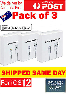 AU8.65 • Buy 3X Apple Lightning Cable Charger Compatible Genuine IPhone 7 Plus 6 5 S 8 X IPad