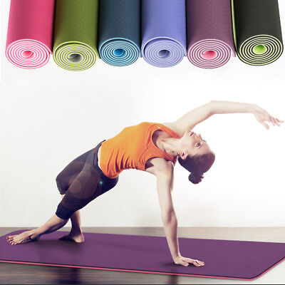 AU21.99 • Buy TPE Yoga Mat Eco Friendly Exercise Fitness Gym Pilates Non Slip Dual Layer 8mm