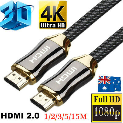 AU12.49 • Buy 4K Ultra HD HDMI Cable V2.0 3D High Speed 1m 2m 3m 5m 15m Gold Plated Ethernet