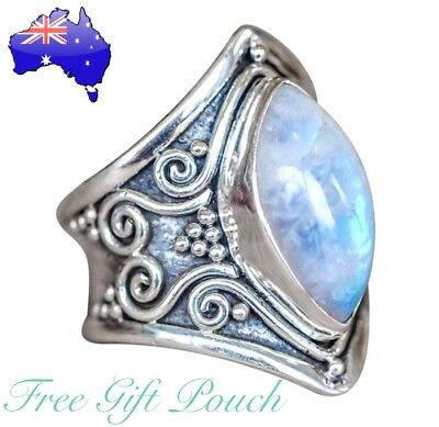 AU9.90 • Buy Moonstone Antique Silver Boho Gypsie Vintage Ring Womens Jewellery Bohemian Gift