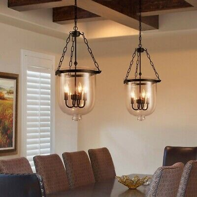 $124.99 • Buy Rustic Glass Bell Jar Pendant Light Kitchen Dining Candle Ceiling Lamp Fixture
