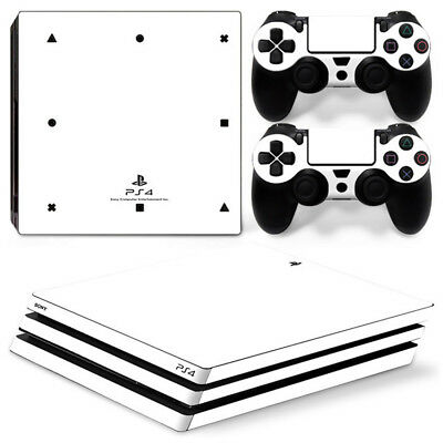 AU16.08 • Buy White Skin For Sony Playstation PS4 PRO Console Stickers & 2 Controllers Skin