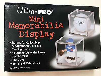 6 ULTRA PRO MINI MEMORABILIA DISPLAY CASE Clear Acrylic Golf Ball Cube Figurine • 5.32£