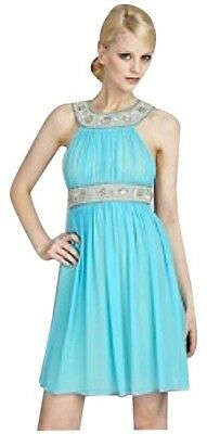 $50 • Buy Aidan Mattox Womens Blue / Turquoise Embroidered Cocktail Dress Size 2