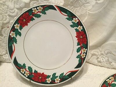 $9.89 • Buy 2 Tienshan DECK The HALLS Christmas DINNER PLATES Other Pieces Available EUC