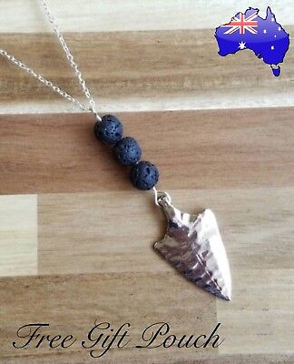 AU9.90 • Buy Natural Lava Rock Stone Arrow Aromatherapy Essential Oil Diffuser Necklace Gift