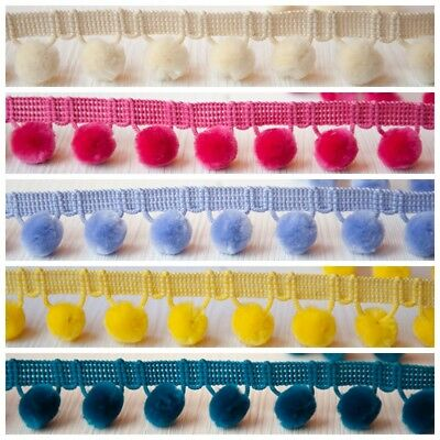 Per Metre Luxury Velvet Feel Pom Pom Fringe Trim 17 Colours 15mm Balls  • 1.99£