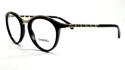 6d25a40d03df6 Chanel Eyeglasses 3349-q C. 501 Shiny Black gold Chain Link Frame 49mm
