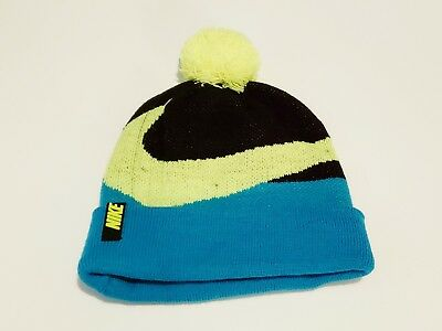 90b7acdf39e Nike Beanie Winter Pom Hat Youth Unisex Teal Black  Florescent Green Swoosh  • 9.99