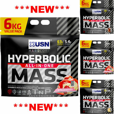 USN Hyperbolic Mass All In One Weight Gainer 6KG Muscle Fuel Gain Anabolic • 52.99£