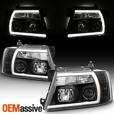 $226.99 • Buy Fits 2004-2008 Ford F150 Pickup Black Full LED DRL Tube Projector Headlights Set