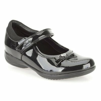 Clarks Girls DAISY GLEAM Black Patent Leather School Shoes UK 11.5 EUR 29.5 E • 24.99£