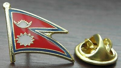 Nepal Country Flag Lapel Hat Cap Tie Pin Badge Loktāntrik Ganatantra Nepāl Asia • 7.15£