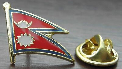 Nepal Country Flag Lapel Hat Cap Tie Pin Badge Loktāntrik Ganatantra Nepāl Asia • 7.09£