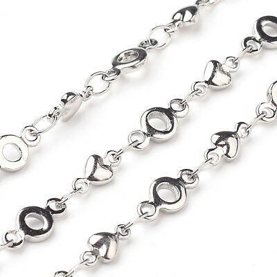 $29.99 • Buy 10m 304 Stainless Steel Heart Decorative Chain Necklace Making With Connector