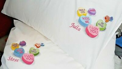 Two Personalised Embroidered Love Heart Pillow Cases Valentine Love Wedding Gift • 11.50£