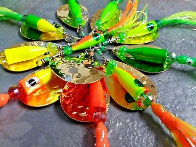 $8 • Buy Salmon Lure GOLD Plated MAGNUM 3/4 Oz Spinners Various Nautical 2/0 Mustad Hook