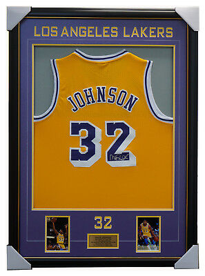 AU995 • Buy Magic Johnson Signed Los Angeles Lakers Jersey Framed With Photos + COA