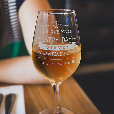 AU19.99 • Buy Personalised Engraved 350ml Valentines Day Wine Glass Valentine's Gift For Her
