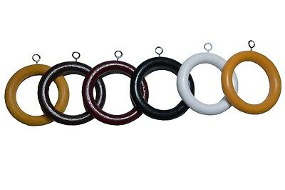 Quality Wood Wooden Curtain Pole Rod Spare Rings Hanging Hooks 6 Colors 3 Sizes • 11.99£