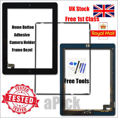 £8.94 • Buy For IPad 2 A1395 A1396 A1397 Screen Black Digitizer Touch Replacement Button IC