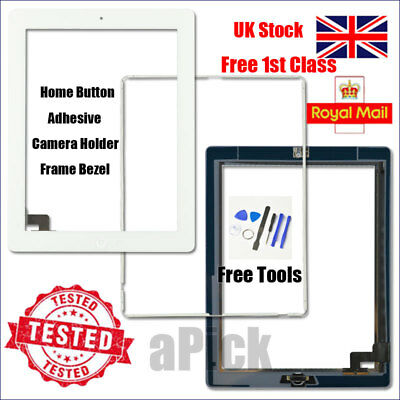 For IPad 2 A1395 A1396 A1397 Screen White Digitizer Touch Replacement Button IC • 10.99£