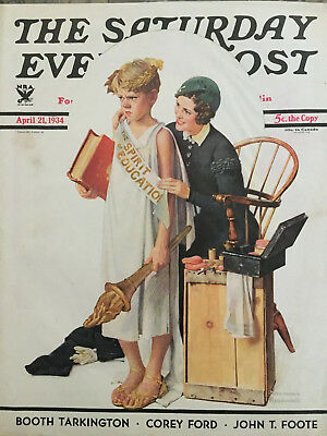 $ CDN44.06 • Buy Saturday Evening Post 4/21/34 COVER ONLY Norman Rockwell The Spirit Of Education