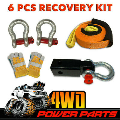 AU84.95 • Buy 4WD Recovery Kit Snatch Strap Hitch Receiver Bow Shackles Gloves 6 PCS Winch 4x4